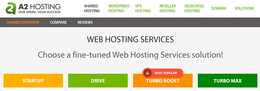 The A2 hosting homepage.