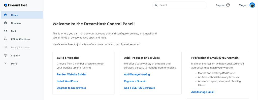 DreamHost Control Panel