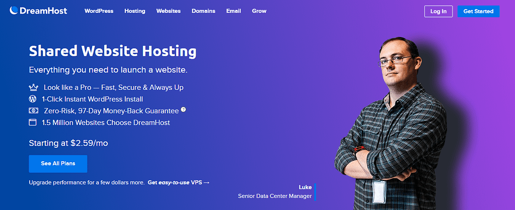The DreamHost homepage.