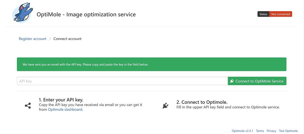 Adding your Optimole API key