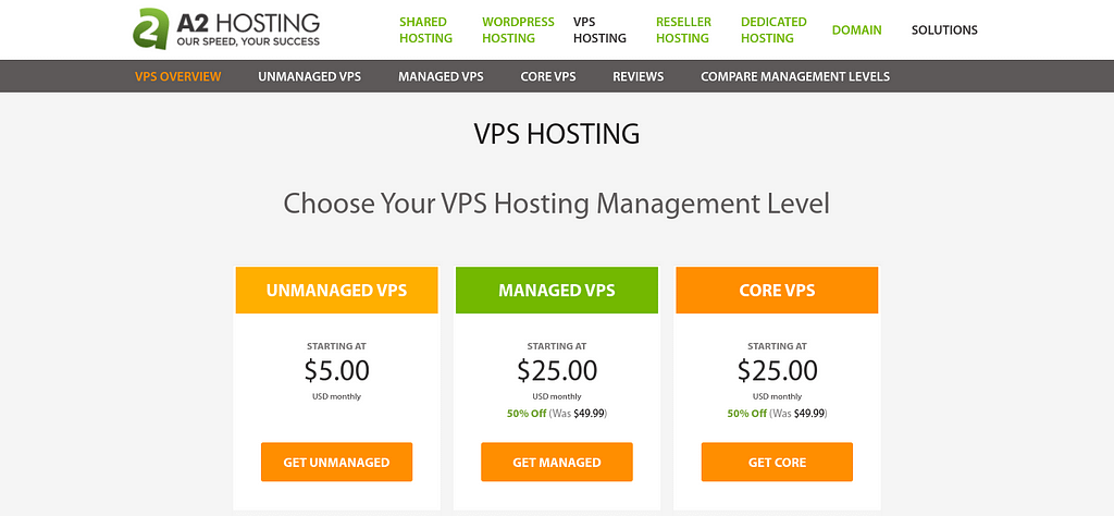 The cheap VPS hosting plans on the A2 Hosting website.