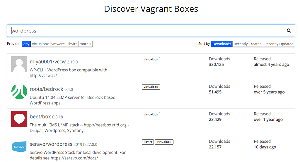 Some examples of Vagrant WordPress boxes.