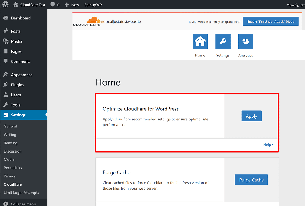 Optimize Cloudflare settings for WordPress