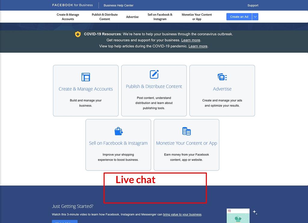Dónde debería aparecer el chat en vivo de Facebook Ads