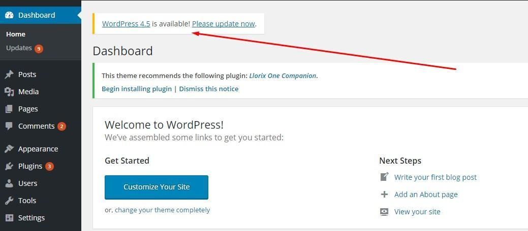 update wordpress 1