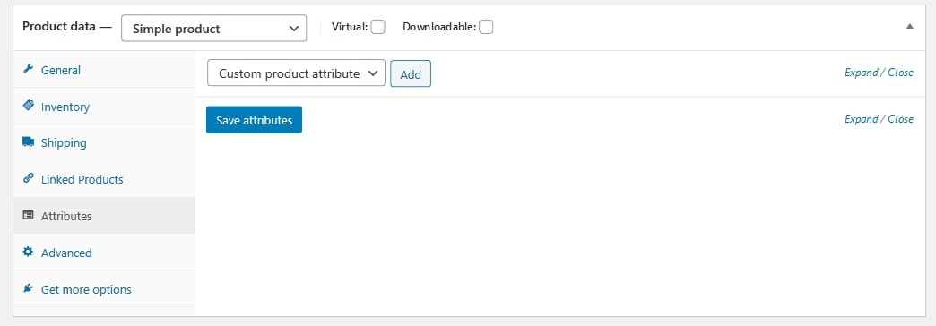 WooCommerce products attributes