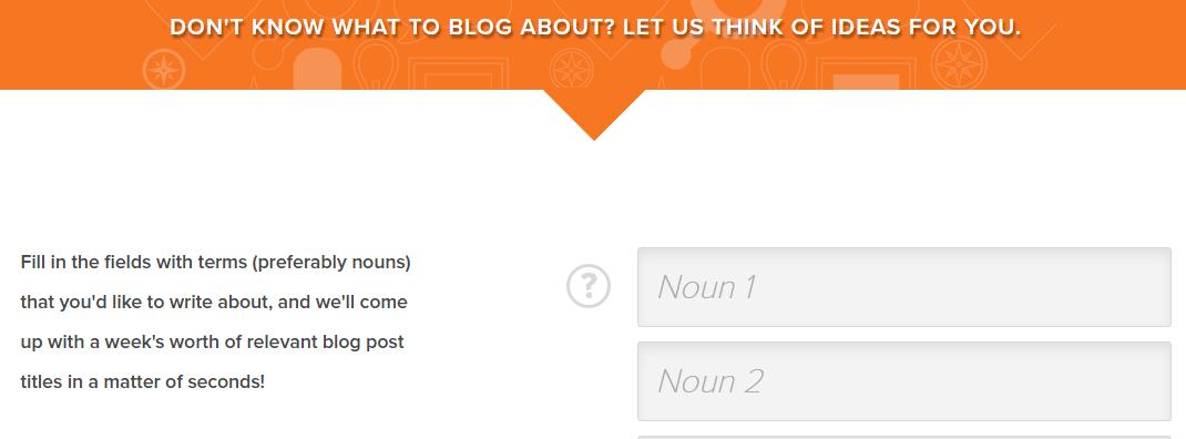 Una captura de pantalla del Blog Topic Generator de HubSpot.