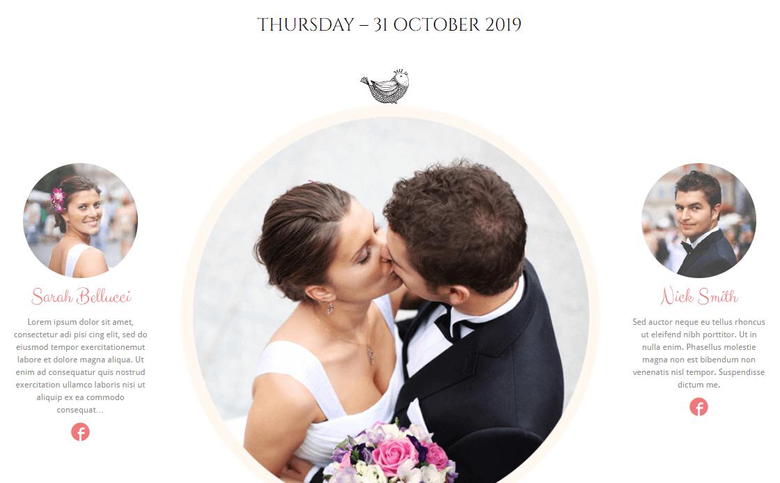 An example of a WordPress wedding theme.