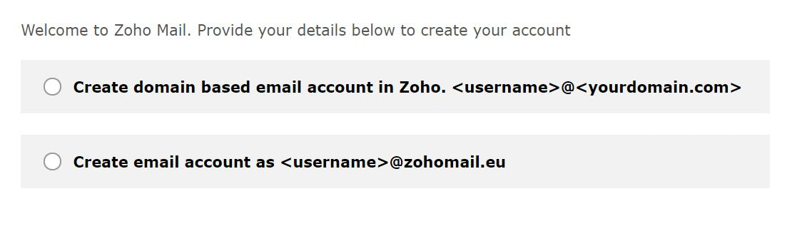 Opciones de dominio de correo electrónico gratuitas de Zoho.