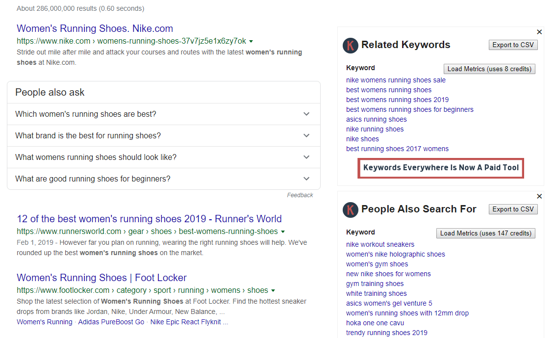 Keyword suggestions from the Keywords Anywhere extension.