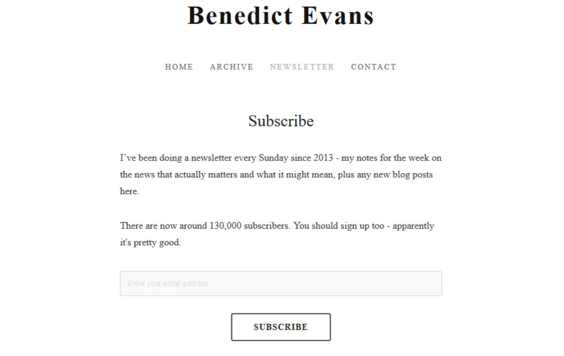 benedict newsletter - free tech newsletters