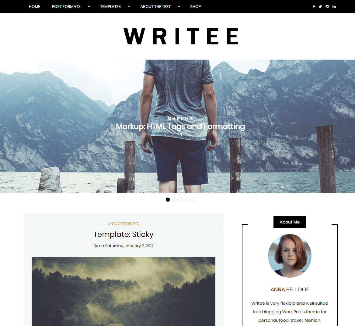 Writee is a free WordPress theme for a blog