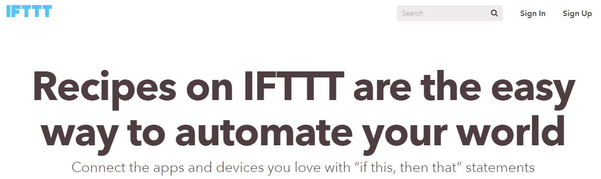 A screenshot of the IFTTT homepage.