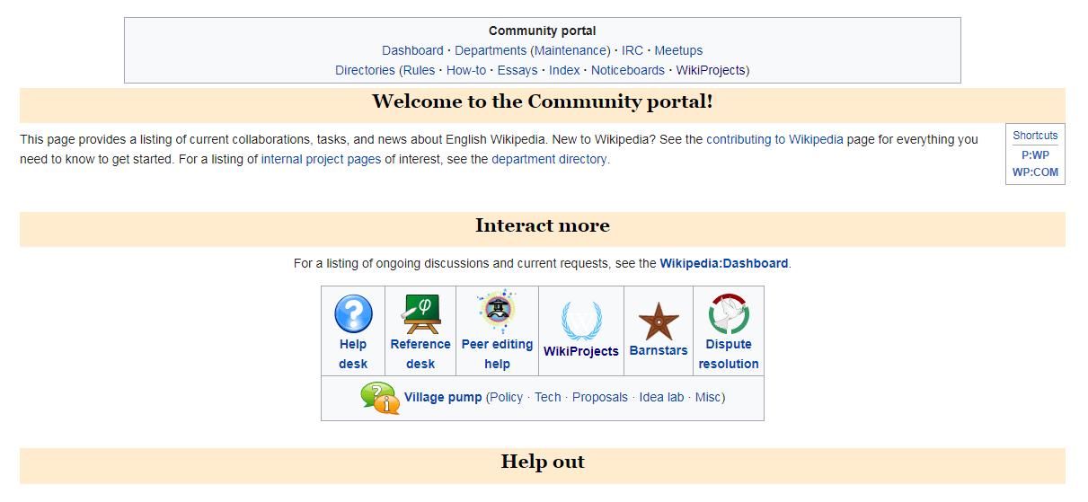 Community tools on Wikipedia.