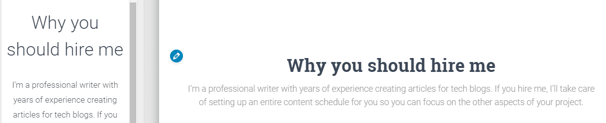 Typing a description for your About section.