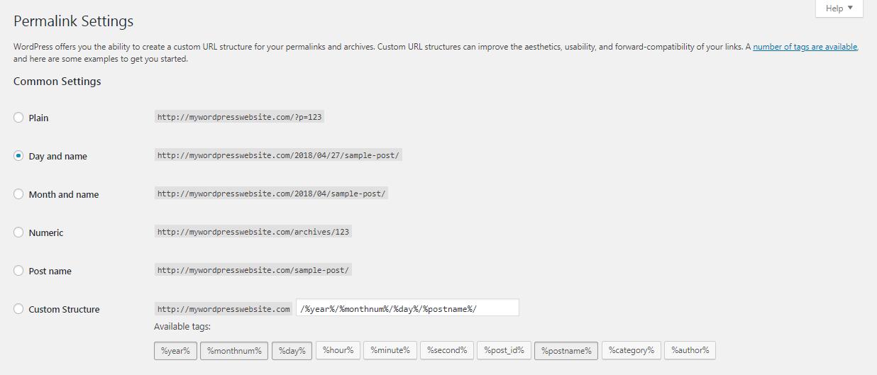 Permalink settings in the WordPress dashboard.