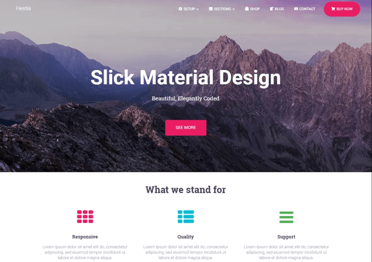 Hestia makes it easy to create a one-page website on WordPress