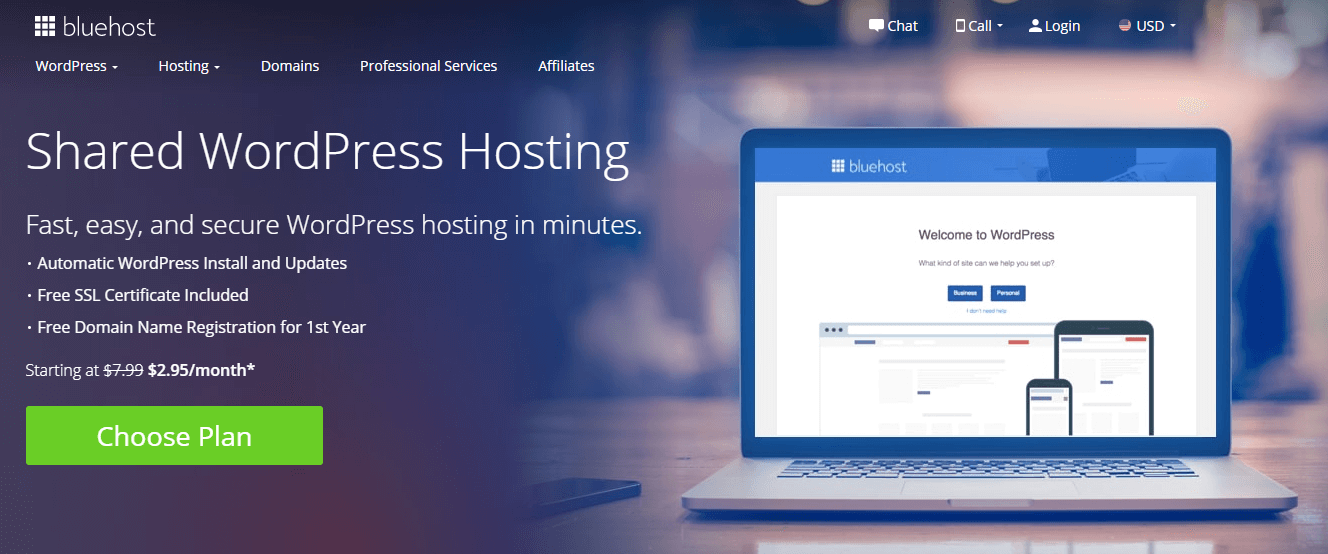 Bluehost's WordPress shared hosting.