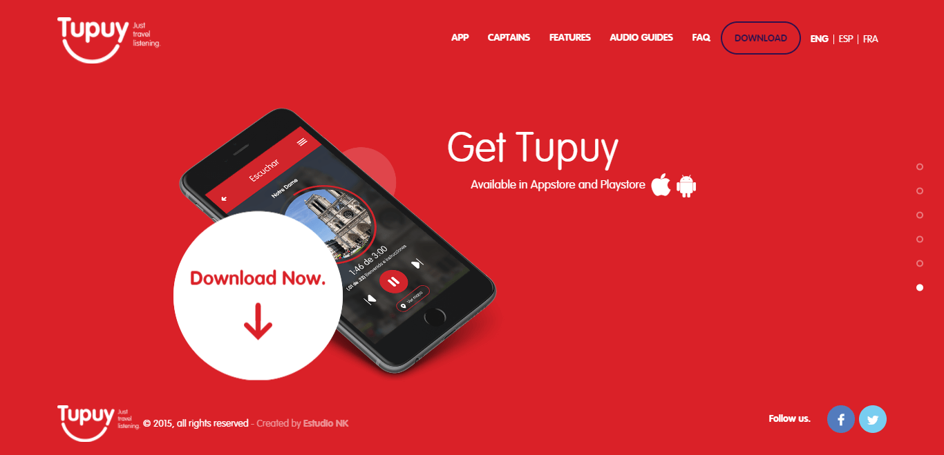 The Tupuy website homepage.