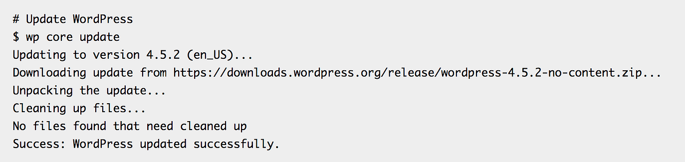 Exemplo WP-CLI