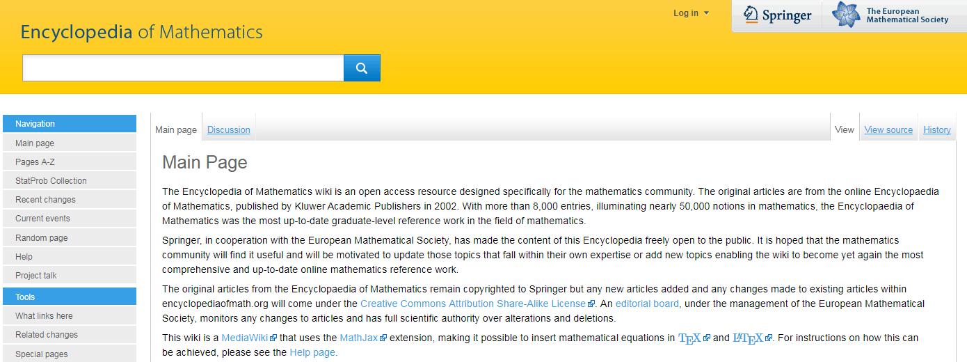 The Encyclopedia of Mathematics wiki.