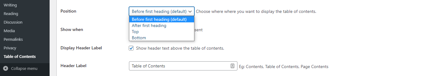 The position settings dropdown