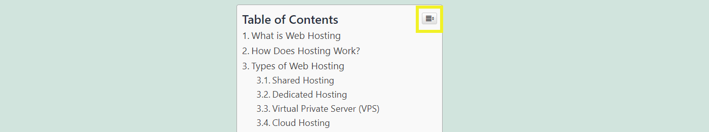 A collapse button in a table of contents on WordPress