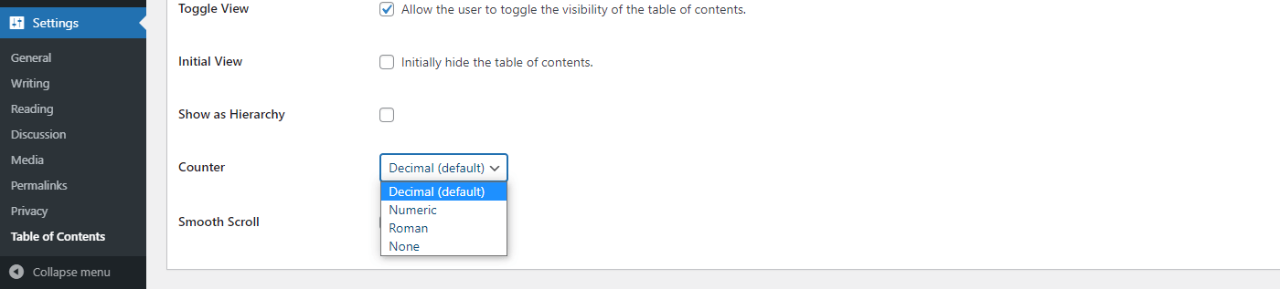 Counter settings in Easy Table of Contents