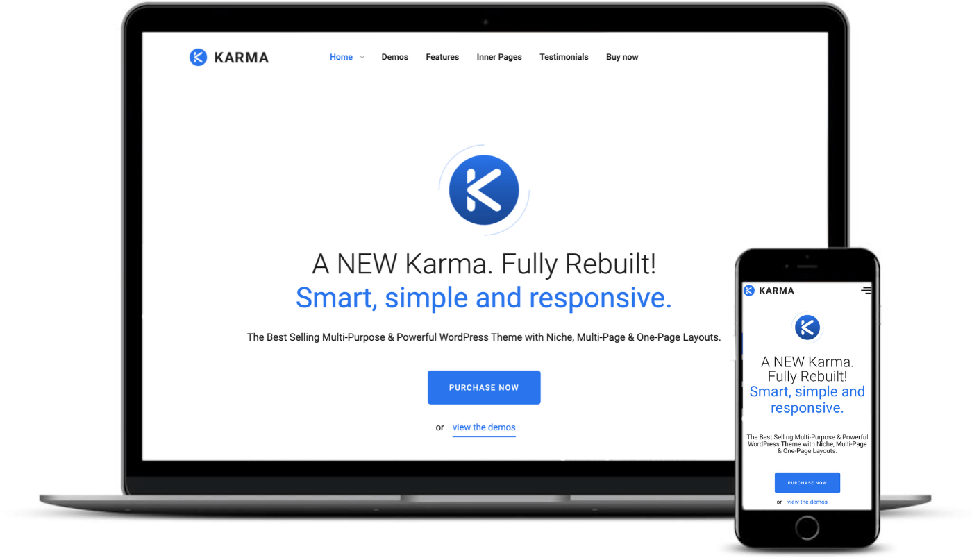 To be one of the best responsive WordPress themes it must look good on desktop and mobile like Karma.
