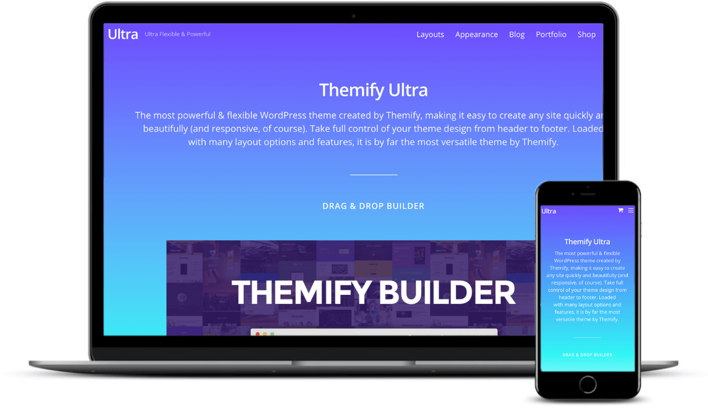 Themify Ultra on desktop and mobile.