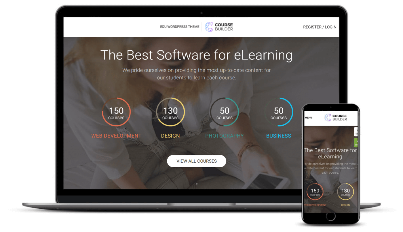 The Course Builder Kit theme on desktop and mobile.