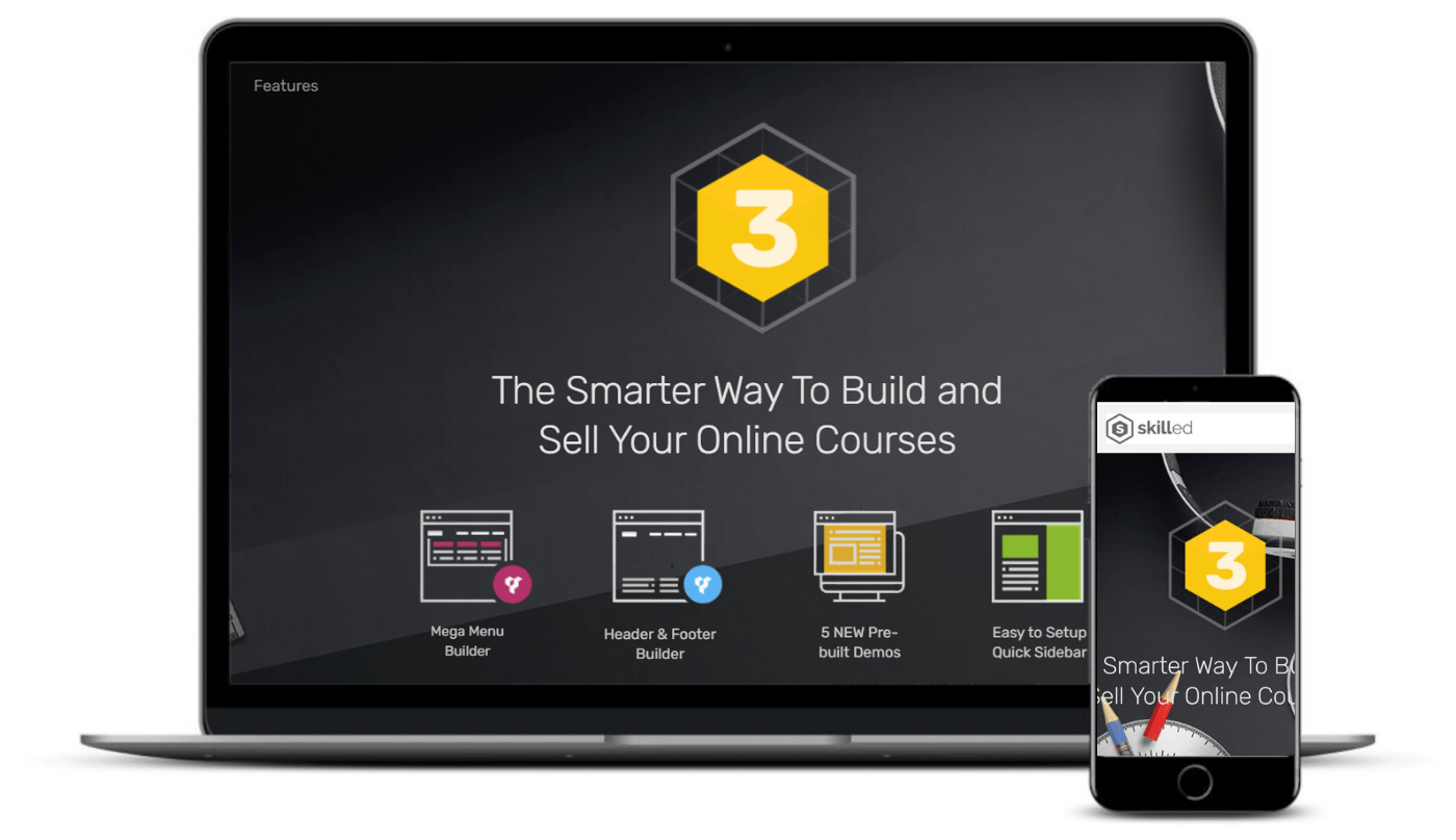 The Skilled theme on desktop and mobile.