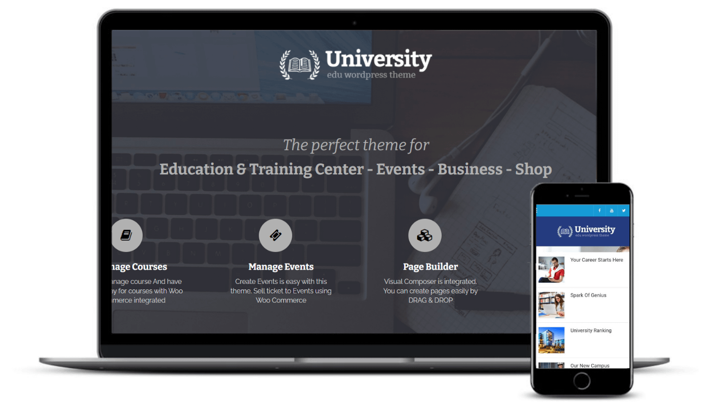 The University theme on desktop and mobile.