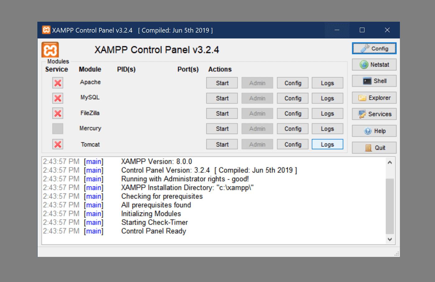 A properly operating XAMPP dashboard with no Apache error.