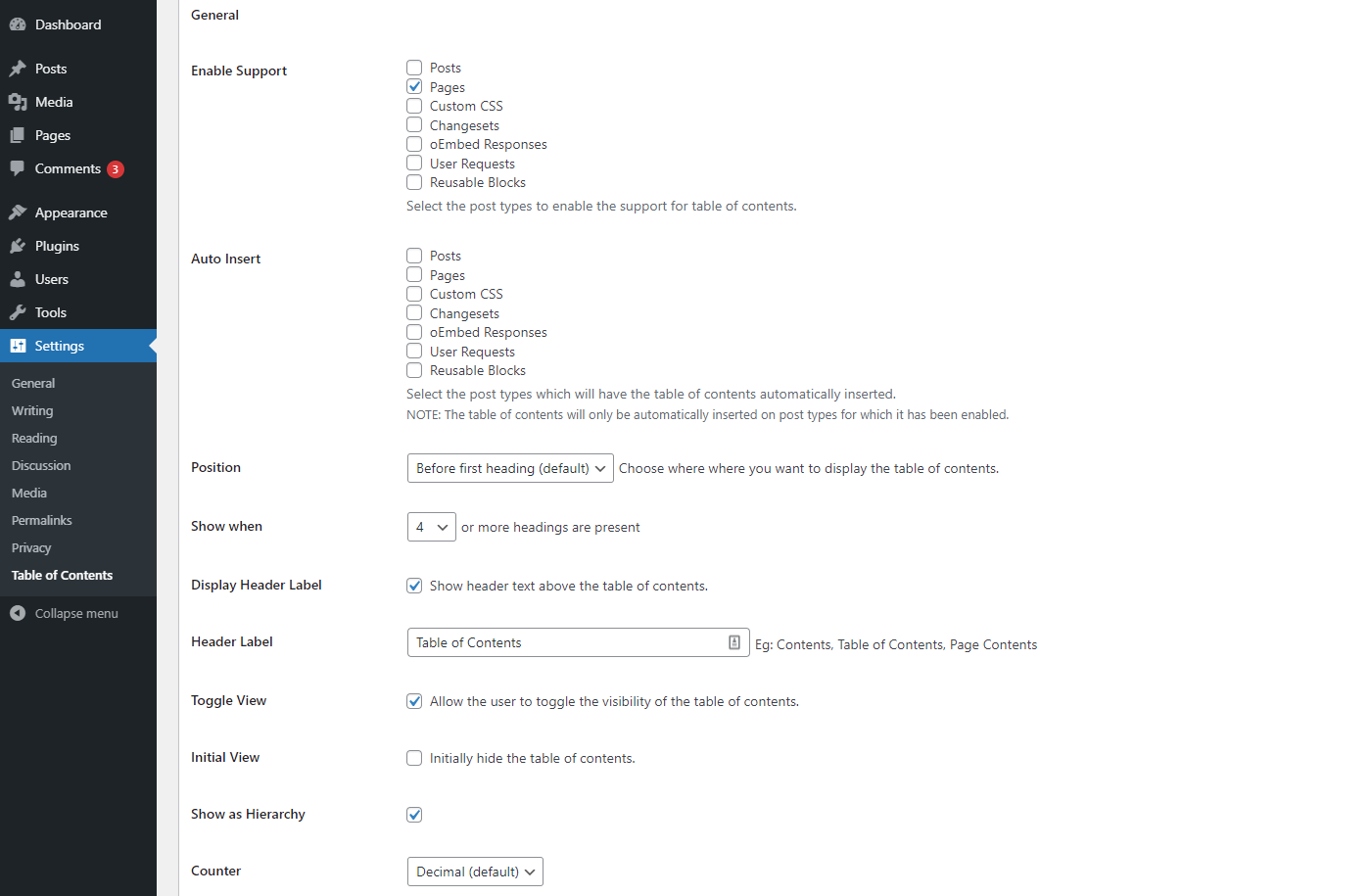 The Easy Table of Contents plugin settings screen