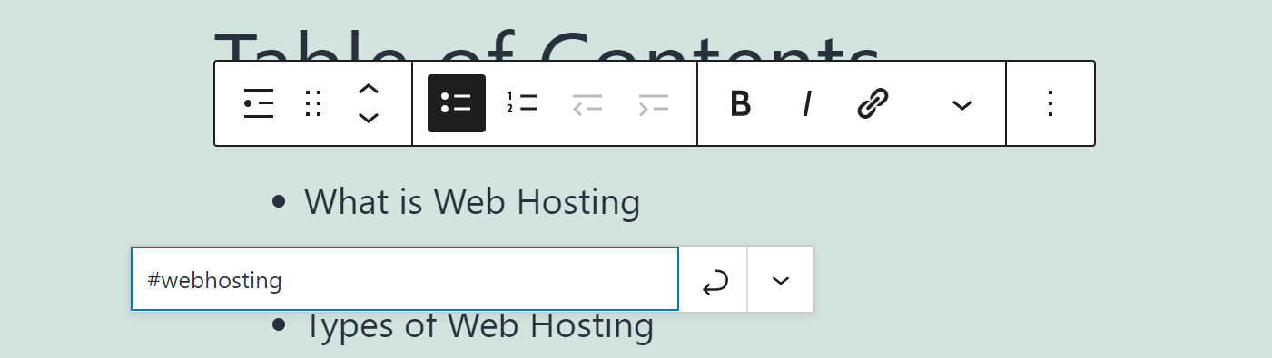 Adding an HTML anchor link