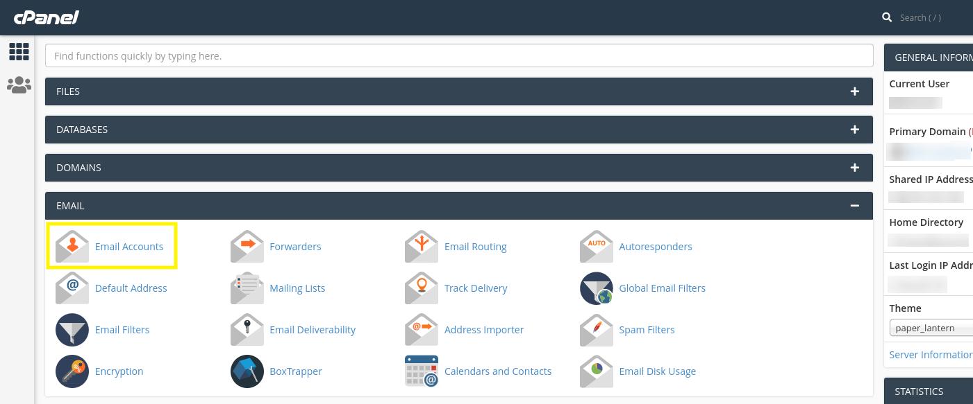La opción 'Cuentas de correo electrónico' en cPanel.