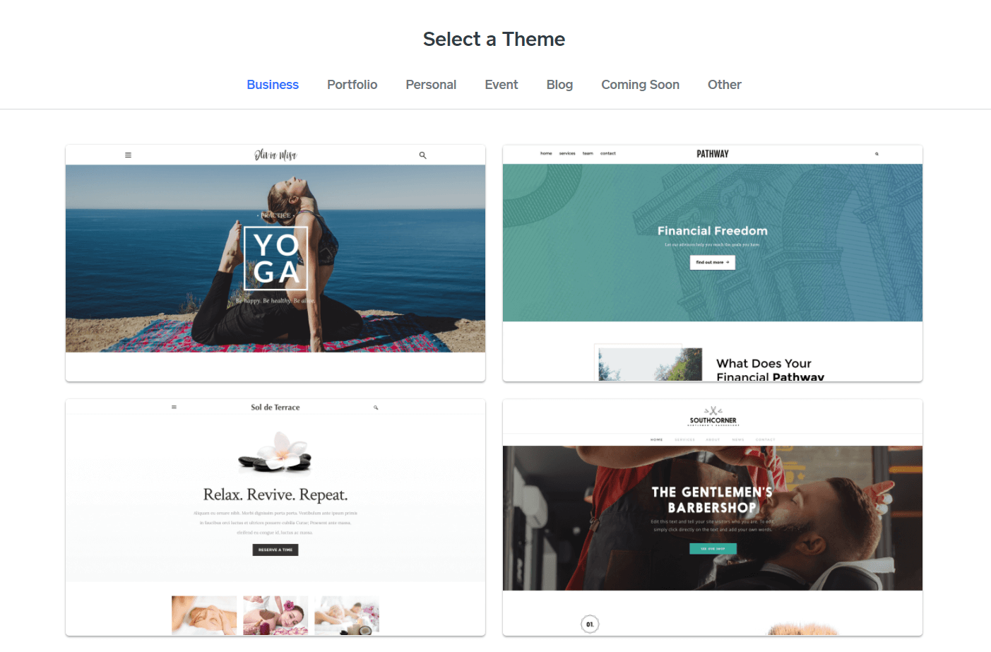 A few of the themes that you can use if you sign up with Weebly.