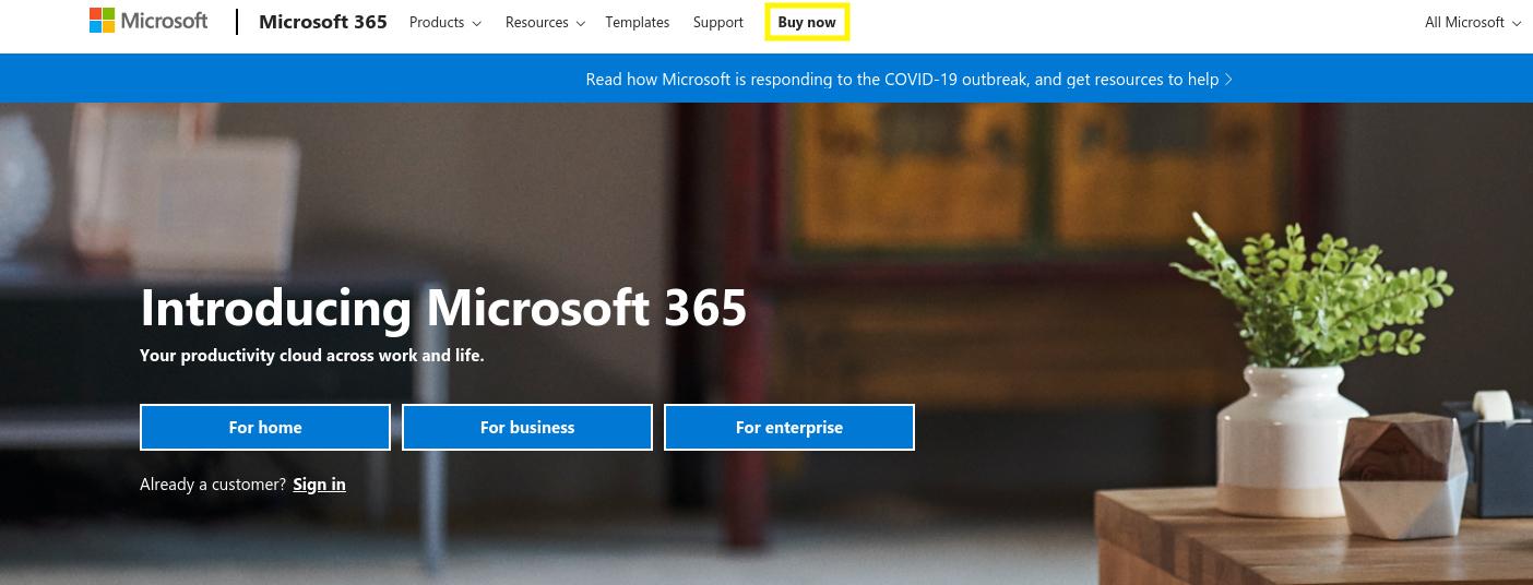 El sitio web de Microsoft 365: otro gran lugar para crear una dirección de correo electrónico empresarial