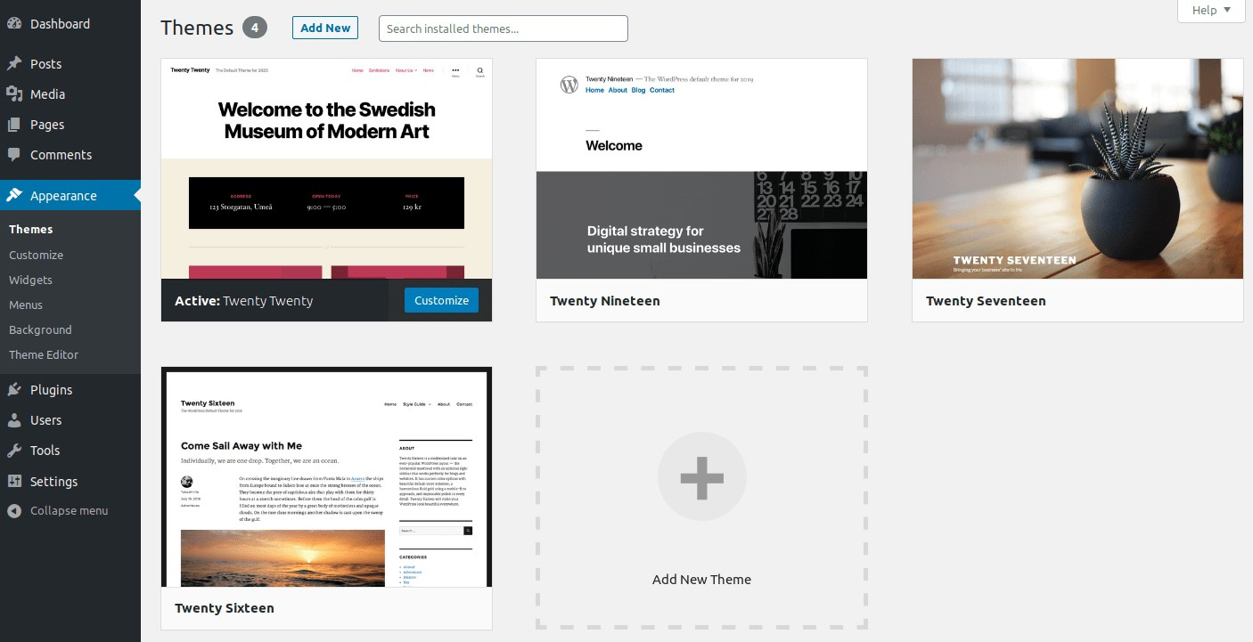 Viewing free themes in the WordPress dashboard.