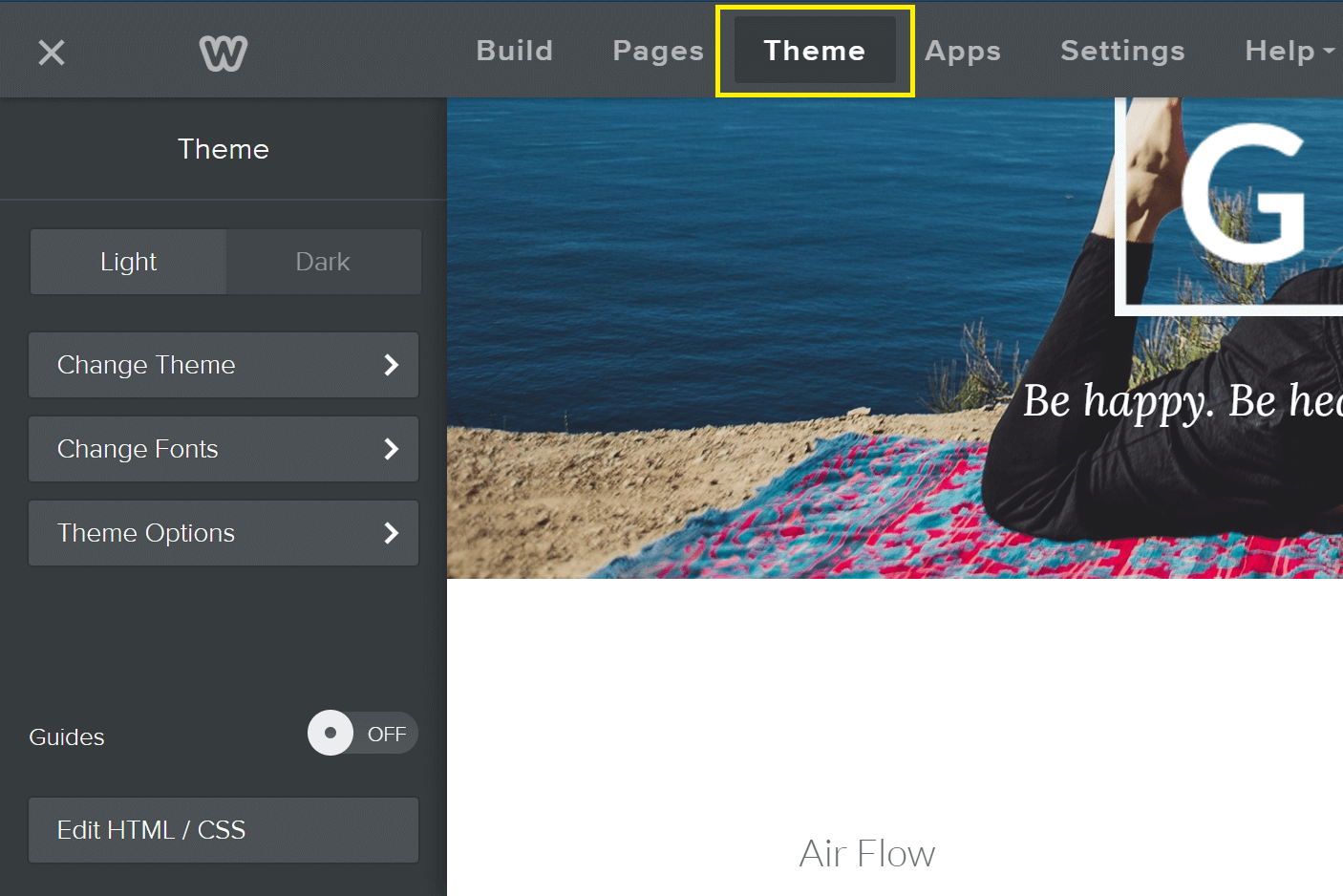 A close up of the Weebly theme editor, with the tab highlighted on top.