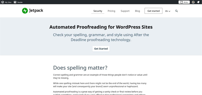 Jetpack has a grammar checker free option