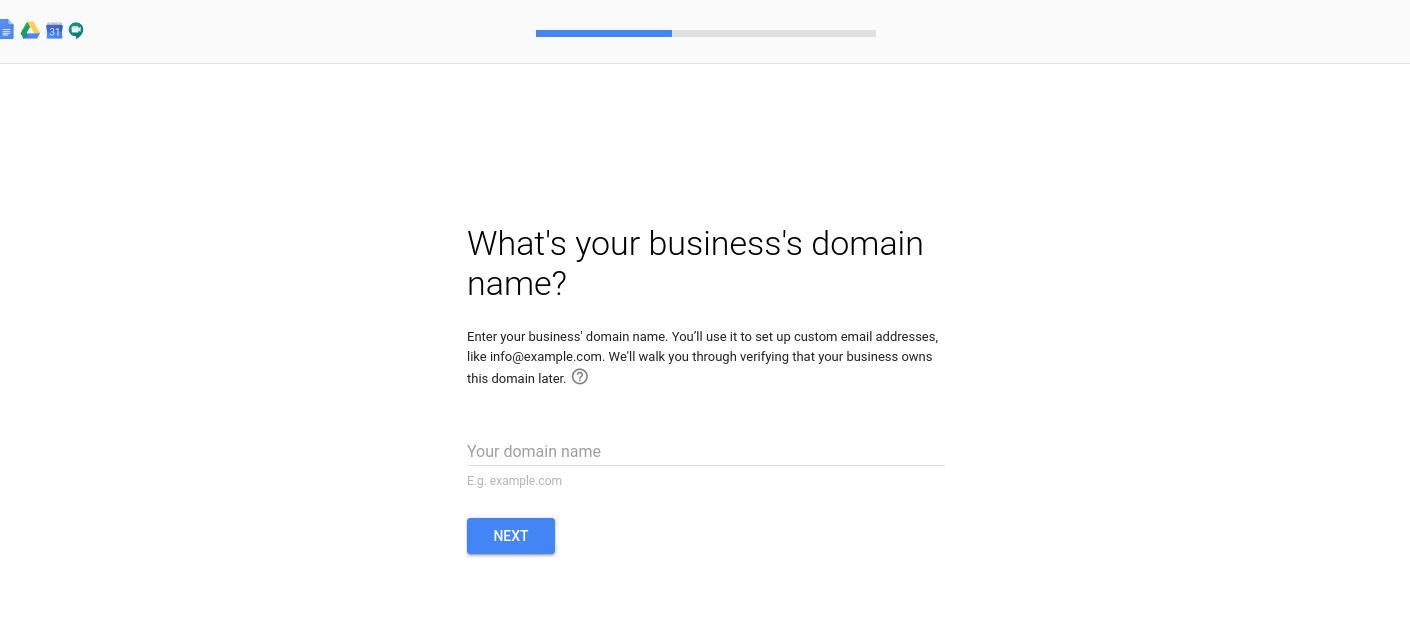 El lugar para ingresar el nombre de dominio de su empresa al configurar una cuenta de G Suite.