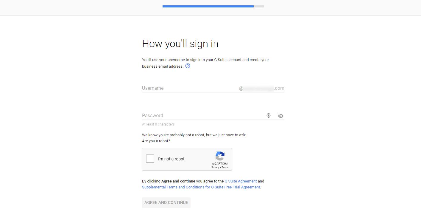 La página para crear un nombre de usuario en G Suite para usar como dirección de correo electrónico comercial.