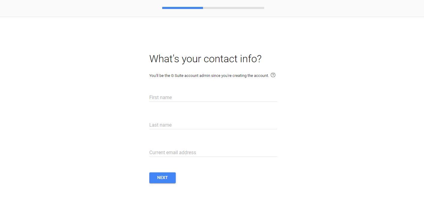 La página de información de contacto en el asistente de configuración de G Suite.