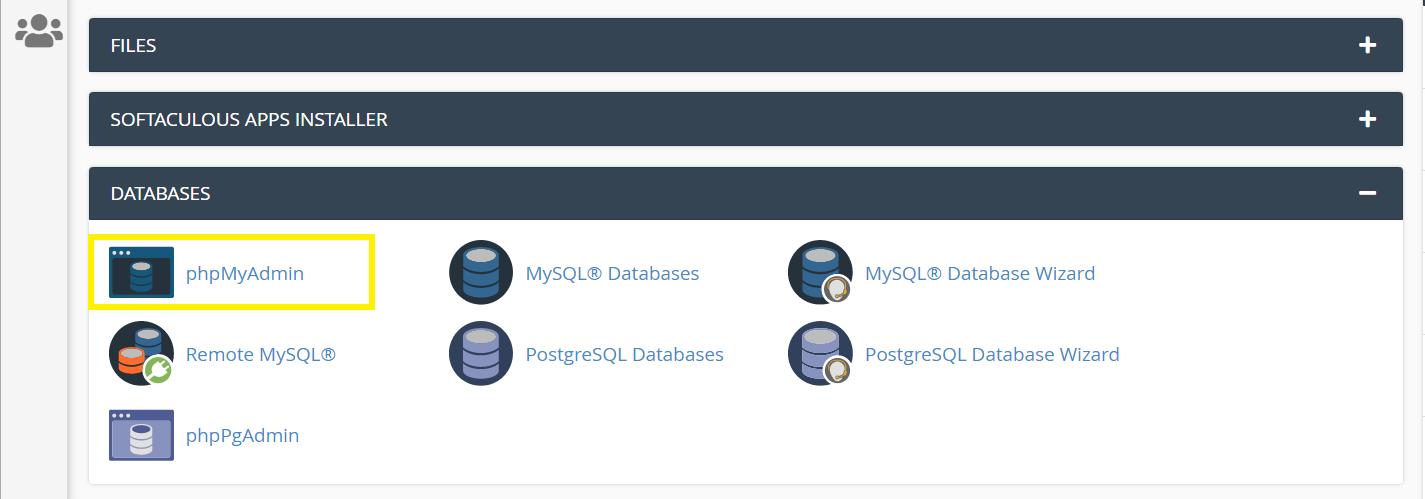 Locating phpMyAdmin in cPanel.