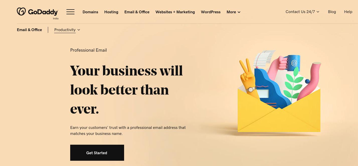 La página de correo electrónico profesional de GoDaddy.