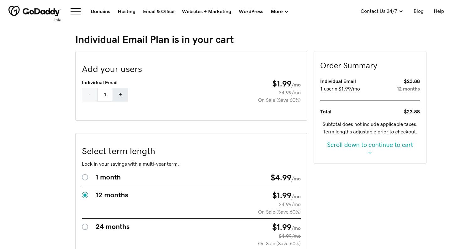 La página de compra del plan de correo electrónico individual de GoDaddy.