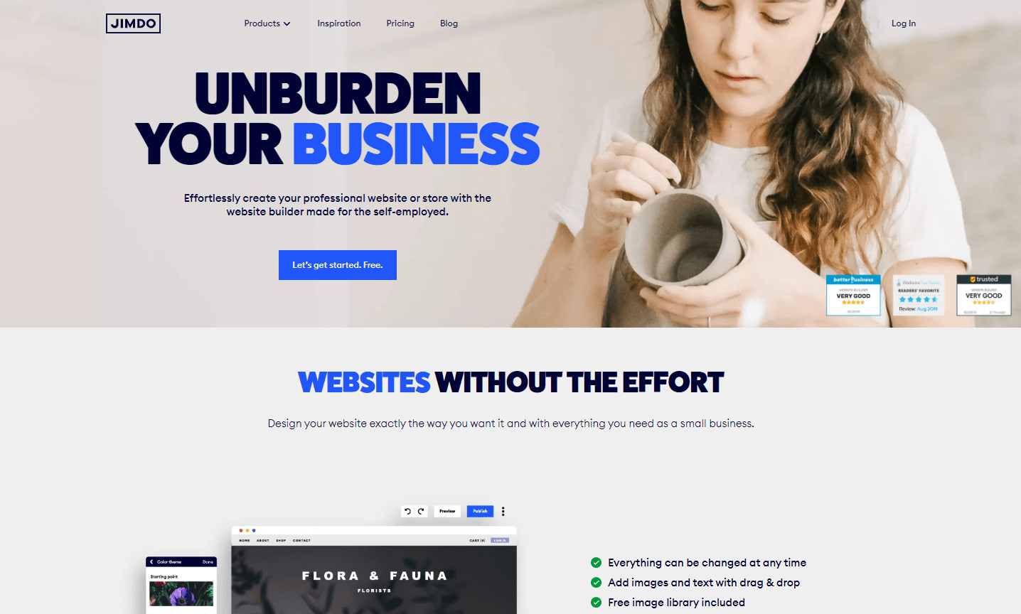 Jimdo is another good option for any considering how to create a website free of cost.