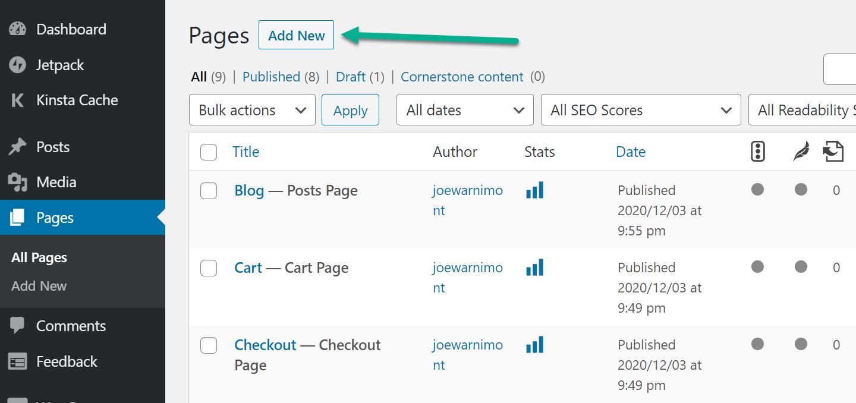 adicionar nova página